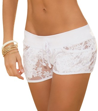 Mapalé By Am:Pm Mapale by AM:PM Women's Sexy Lace Shorts - White - XL