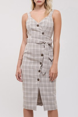 J.o.a. Asymmetrical Button Waist Tie Plaid Print Dress