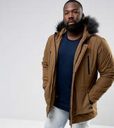 Asos PLUS Parka Jacket with Faux Fur Trim in Tobacco