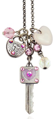 Anne Koplik Swarovski Crystal Hearts & Key Jumble Necklace
