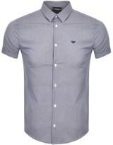 Giorgio Armani Emporio Short Sleeve Check Shirt Blue