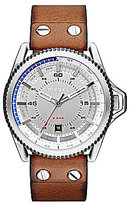 Diesel Rollcage Tan Leather Strap Stainless Steel 3 Hand Date Watch