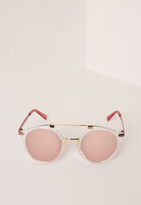 Missguided Round T-Bar Clear Frame Sunglasses Pink
