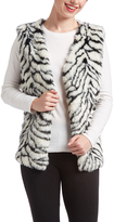 Black & White Zebra-Print Faux Fur Vest