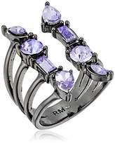 Rebecca Minkoff Multi Stone Wrap Gunmetal with Lavender Ring, Size 5-7