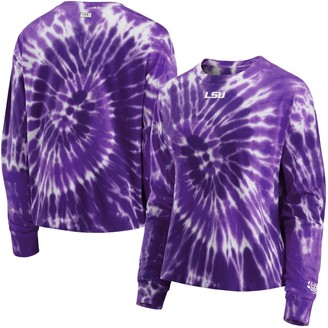 Women's WEAR by Erin Andrews Purple LSU Tigers Team Tie-Dye Long Sleeve T-Shirt