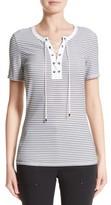 St. John Women's Mesh Stripe Jersey Lace-Up Tee