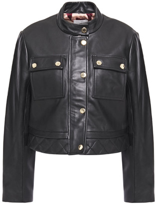 Sandro Teodor Cropped Quilted Leather Jacket