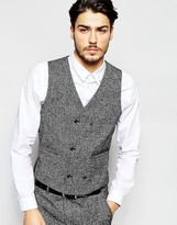 Asos Slim Waistcoat In Salt And Pepper Fabric