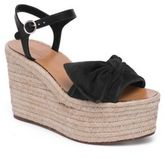 Valentino Tropical Bow Suede Espadrille Wedge Platform Sandals