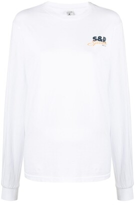 Sporty & Rich Logo Print Long-Sleeved Top