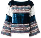 See by Chloe velvet and tweed panelled top - women - Cotton/Acrylic/Polyester/other fibers - 36