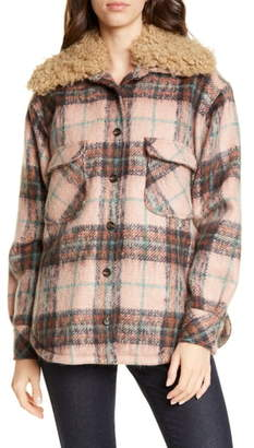 Smythe Workwear Plaid Faux Shearling Trim Jacket