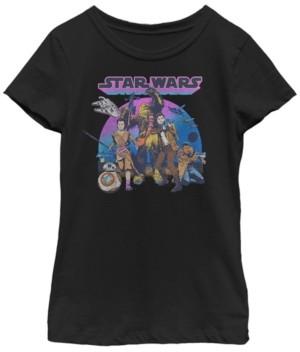 Fifth Sun Star Wars Big Girl's Jyn Erso, Han Solo, Chewbacca, Retro Color Short Sleeve T-Shirt