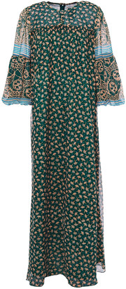 Anna Sui Printed Chiffon-paneled Silk-georgette Maxi Dress