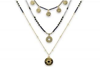 Boho Betty Boreas Navy & Gold Beaded 3 Layering Necklace Set