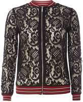 Dorothy Perkins Black Tipped Lace Knitted Bomber Jacket