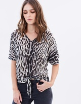 Wallis Animal Cold Shoulder Top
