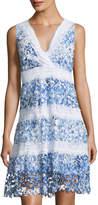 T Tahari Raya Striped Lace A-line Dress