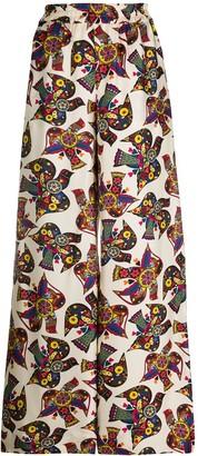 La DoubleJ Bird Print Palazzo Trousers