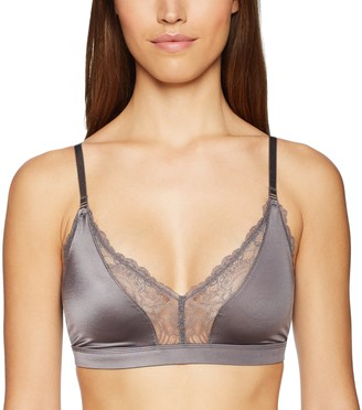 Mae Amazon Brand Women's Lace Trim Triangle Bralette with Convertible Straps