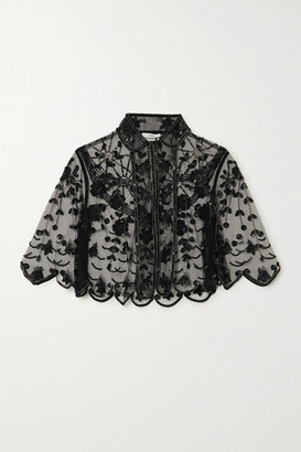 Erdem Damasia Cropped Embellished Tulle Jacket - Black