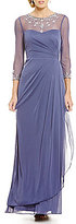 JS Collections Beaded Illusion Necklace Gown