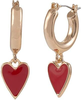 Betsey Johnson Heart Huggie Drop Earrings (Red) Earring