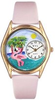 Whimsical Watches Kids' C0150010 Classic Gold Flamingo Pink Leather And Goldtone Watch