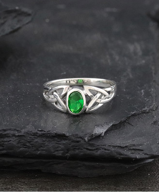 Celtic Kg Silver KG Silver Women's Rings - Emerald & Sterling Silver Knot Ring