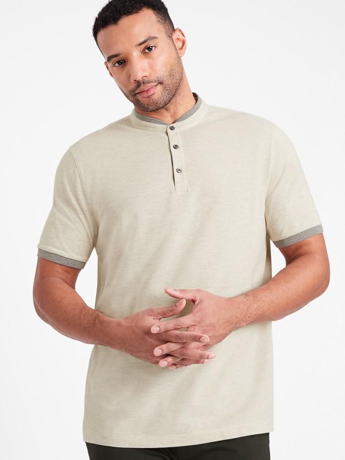 Banana Republic Core Temp Pique Banded-Collar Polo Shirt