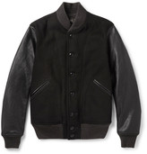 RRL - Sonny Leather-Panelled Wool-Blend Bomber Jacket