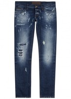Dolce & Gabbana 10 Dark Blue Distressed Slim-leg Jeans