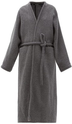 Kassl Editions V-neck Wrapped Felted-wool Blend Coat - Grey