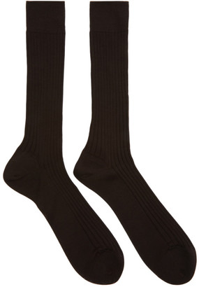 Ermenegildo Zegna Brown Rib Socks
