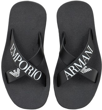 Emporio Armani Crisscross Rubber Flip Flops