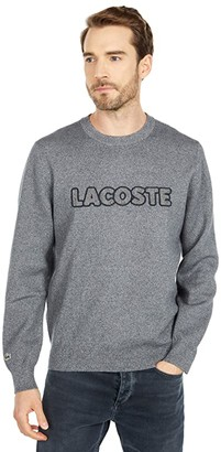 Lacoste Long Sleeve Graphic Double Jersey Sweater (Eclipse Jaspe) Men's Clothing