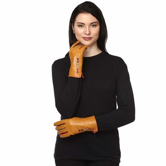 Euro Designs Limited Women 100% Leather Gloves Warm Lined Nappa Lambskin Leather Women Gloves Touchscreen Gloves Black Navy Burgundy Grey (Musturd Large/X-Large)
