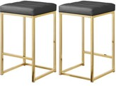 """Everly Akash 26.5"""" Bar Stool Quinn Upholstery: Gray Leather, Color: Gold"""