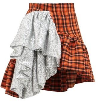 Germanier - Sequin-ruffle Asymmetric Checked-cotton Mini Skirt - Silver Multi
