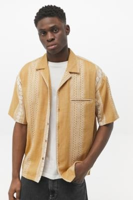 Urban Outfitters Mustard Striped Short-Sleeve Shirt - Yellow S at