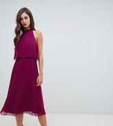 Asos DESIGN Tall halter tie neck midi dress in pleat