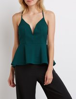 Charlotte Russe Plunging Notch Peplum Top