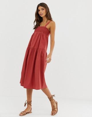 Asos Design DESIGN trapeze midi cotton sundress-Red