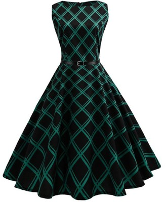 KIMODO Vintage 50s 60s Bodycon A-Line Pleated Rockabilly Cocktail Party Dress Cap-Sleeve (L