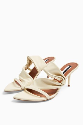 Topshop NIGHT Leather Buttermilk Tubular Mules