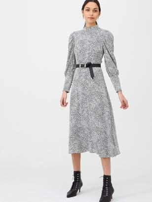 Very High Neck Blouson Sleeve Midaxi Dress - Print