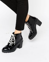 London Rebel Chunky Heeled Boots With Contrast Lace