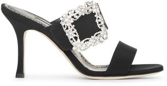 Manolo Blahnik Gable Jewel 90 black crepe mule sandals
