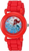 Disney Girl's 'Ariel' Quartz Plastic and Silicone Casual Watch, Color:Red (Model: WDS000017)